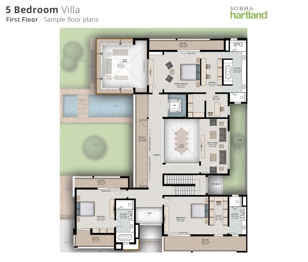 5BR first floor-Floor-plans-sobha hartland