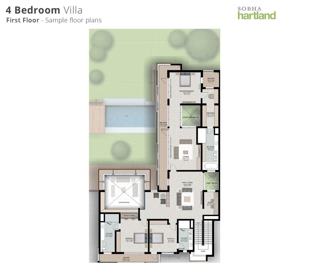 Sobha Hartland-Floor Plans-4BR-First Floor