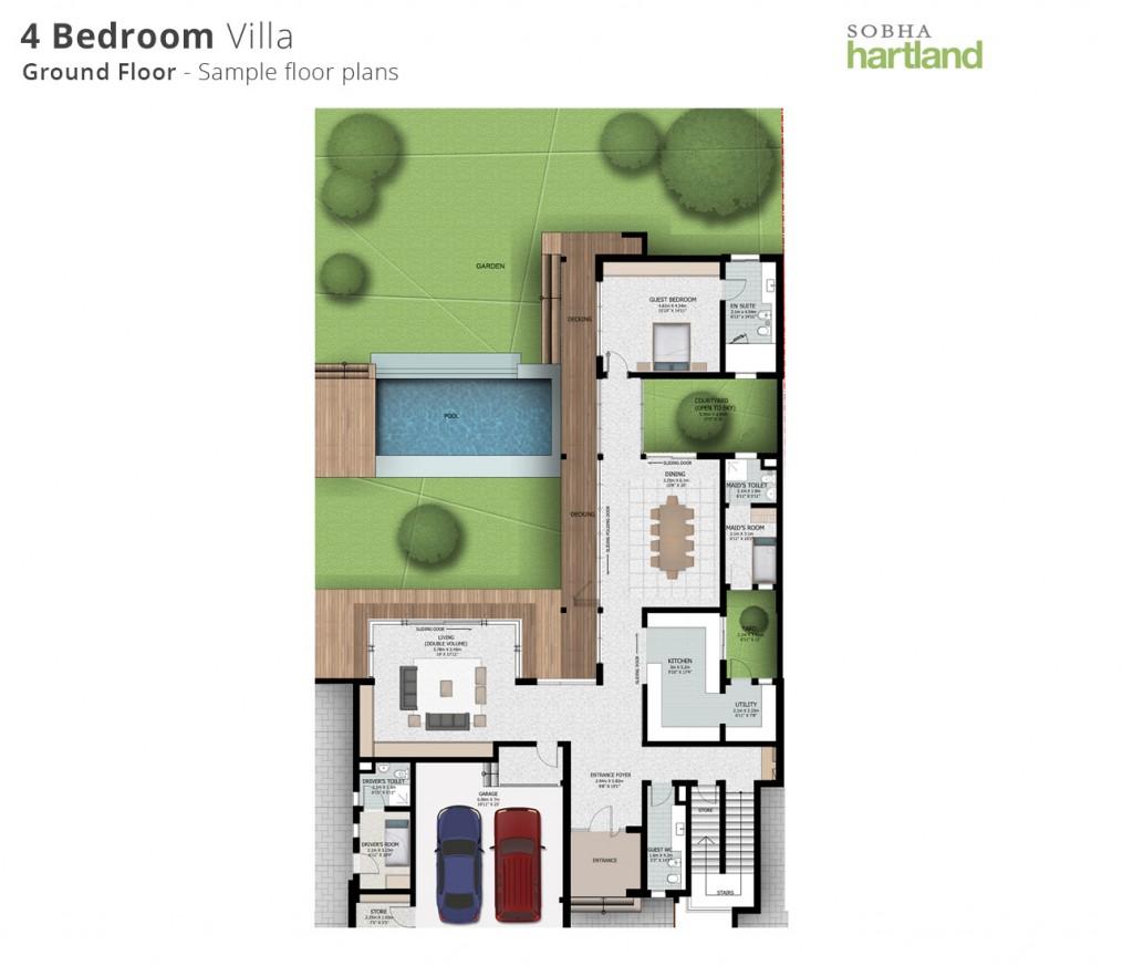 sobha Hartland-4BR villa-first floor-floorplans
