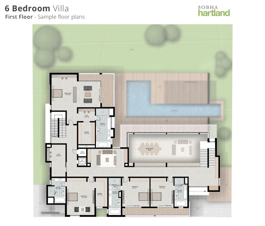6BR first floor-Floor-plans-sobha hartland